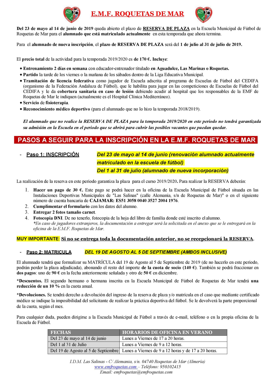 ABIERTO PLAZO DE RENOVACIÓN DE MATRICULA PARA EL CURSO 2019/2020