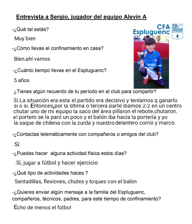 Sergio, jugador del Alevín A