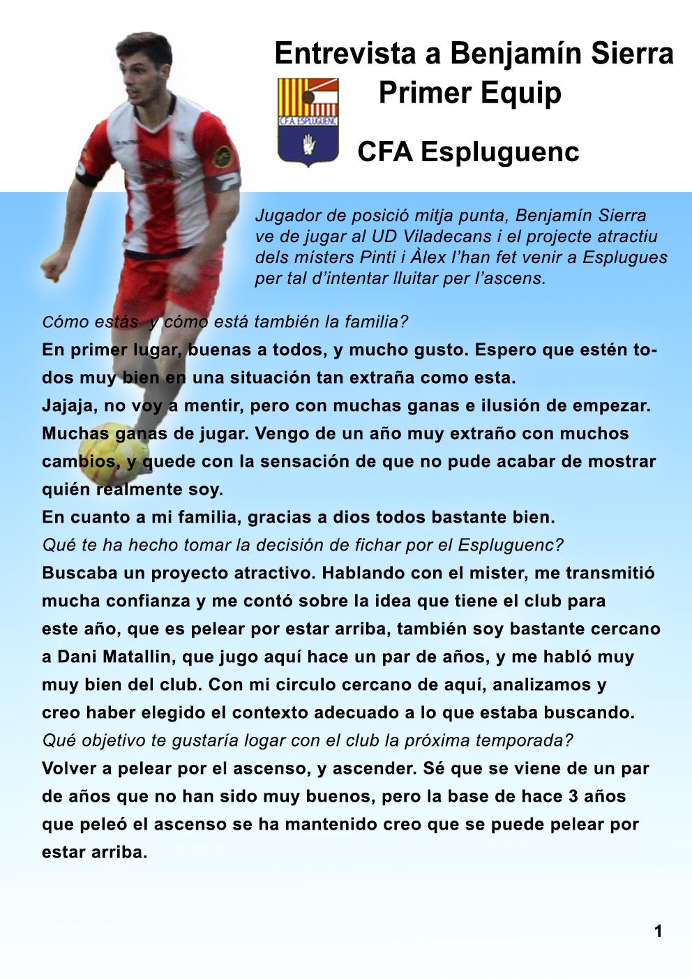 Benjamín Ruiz, jugador de l'Amateur A