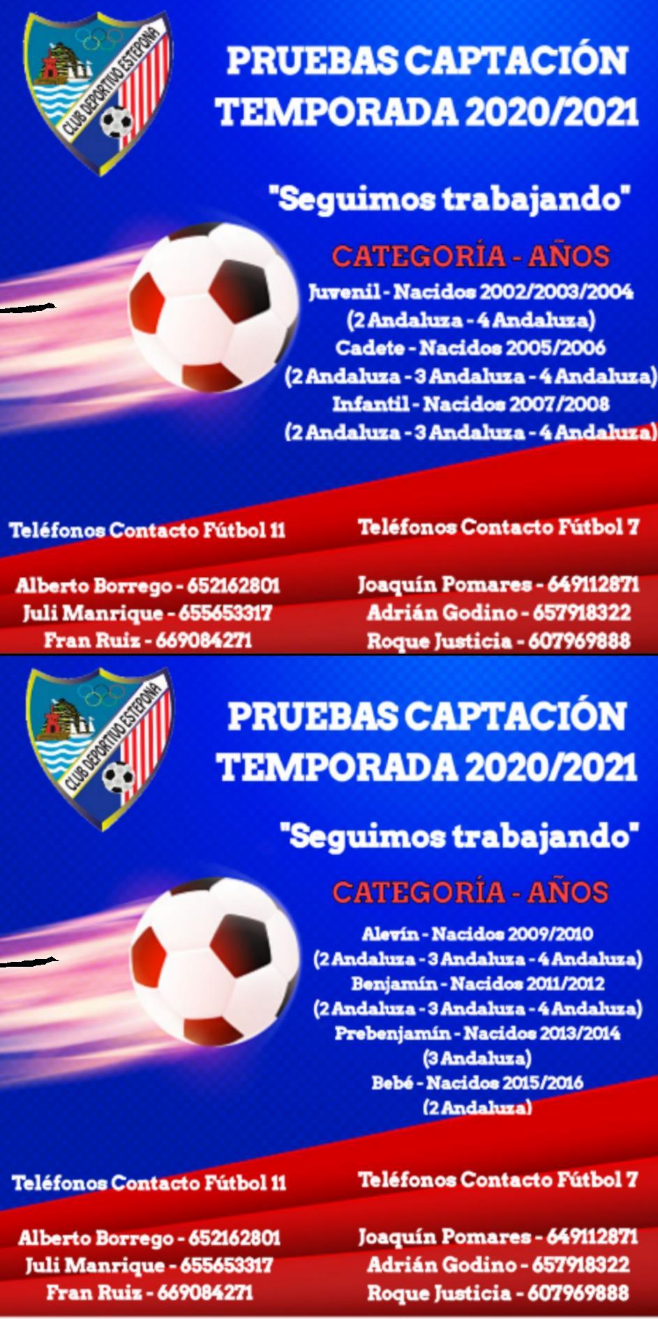 PRUEBAS CAPTACIÓN 2020/2021