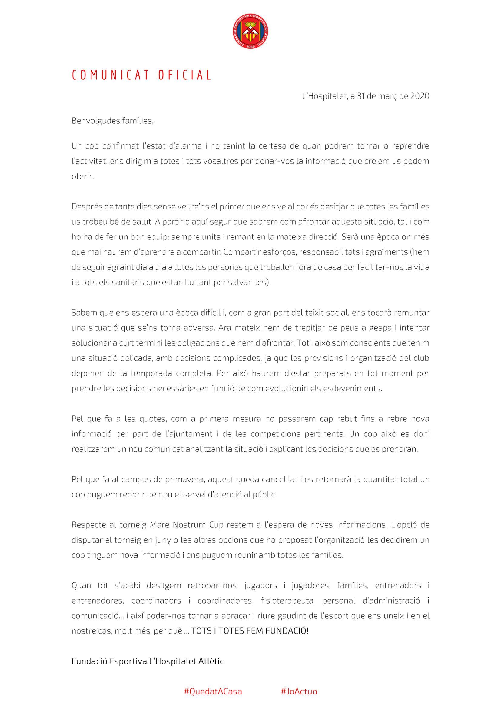 Nou comunicat respecte a la COVID-19