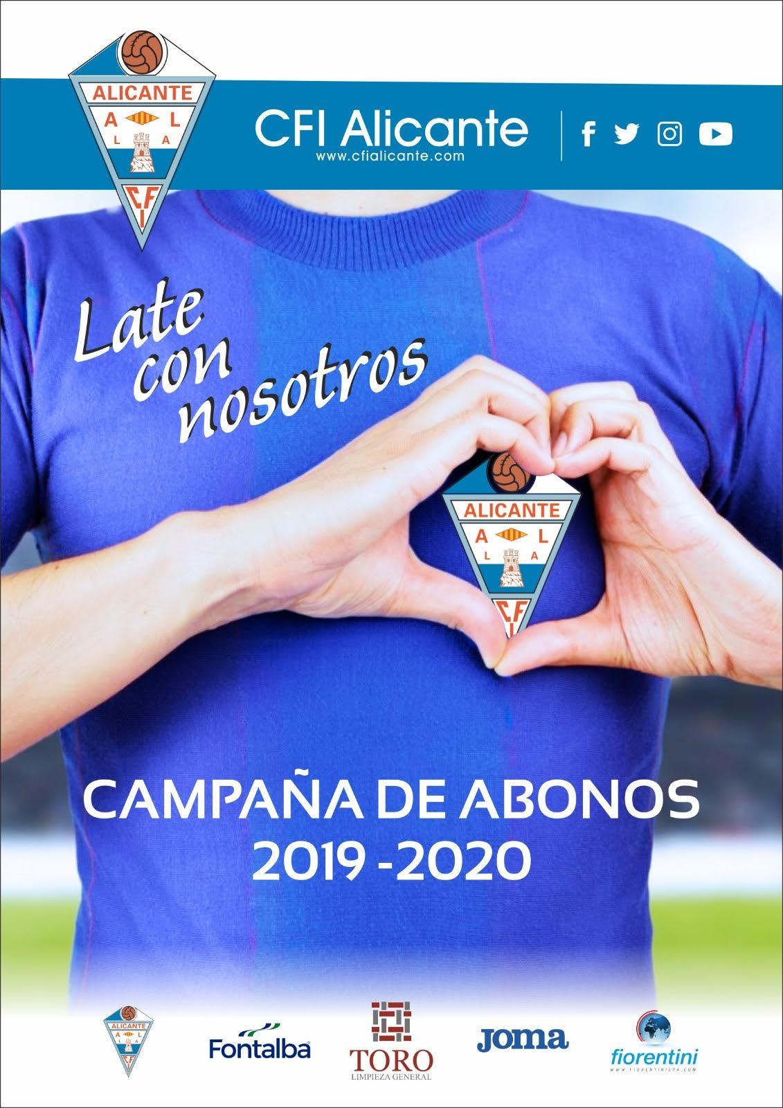 """""""Late con nosotros"""", es el lema de la campaña de abonos del CFI Alicante para la temporada 19/20"""