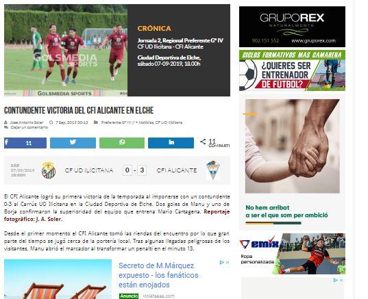 victoria del CFI Alicante en Elche