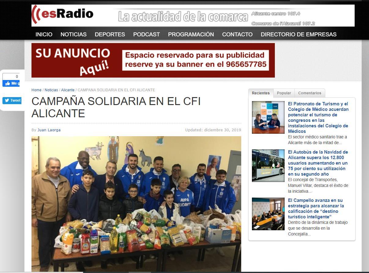 Campaña solidaria CFI Alicante