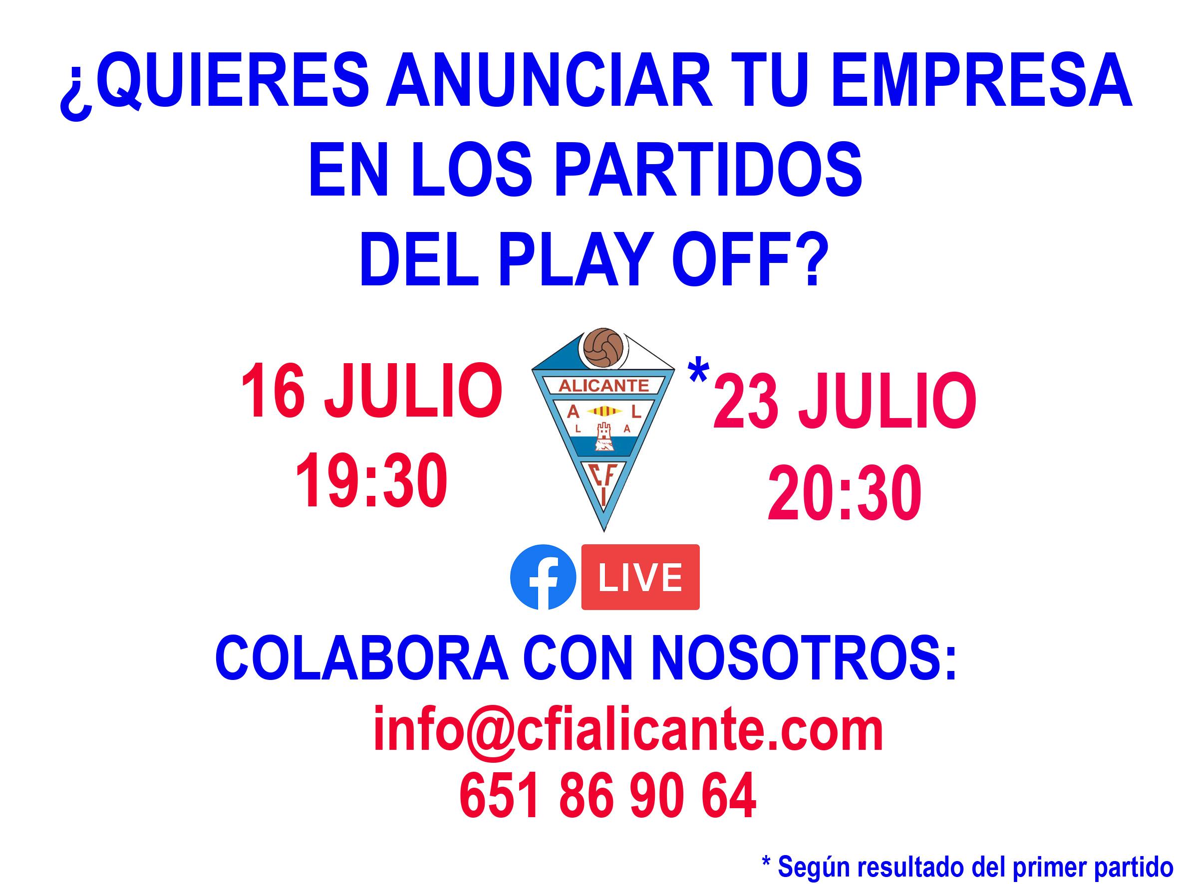 ¡¡ Sigue los partidos del play off en el Facebook del CFI Alicante!!
