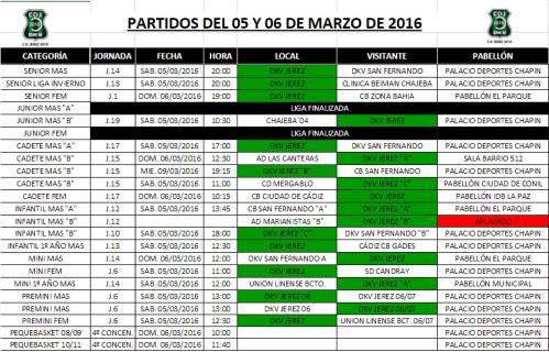Partidos Fin de Semana 5-6 Marzo
