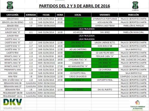 HORARIOS PARTIDOS FIN DE SEMANA 2-3 ABRIL
