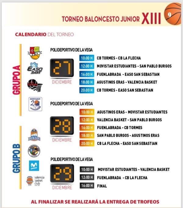 Horarios XIII Torneo Junior