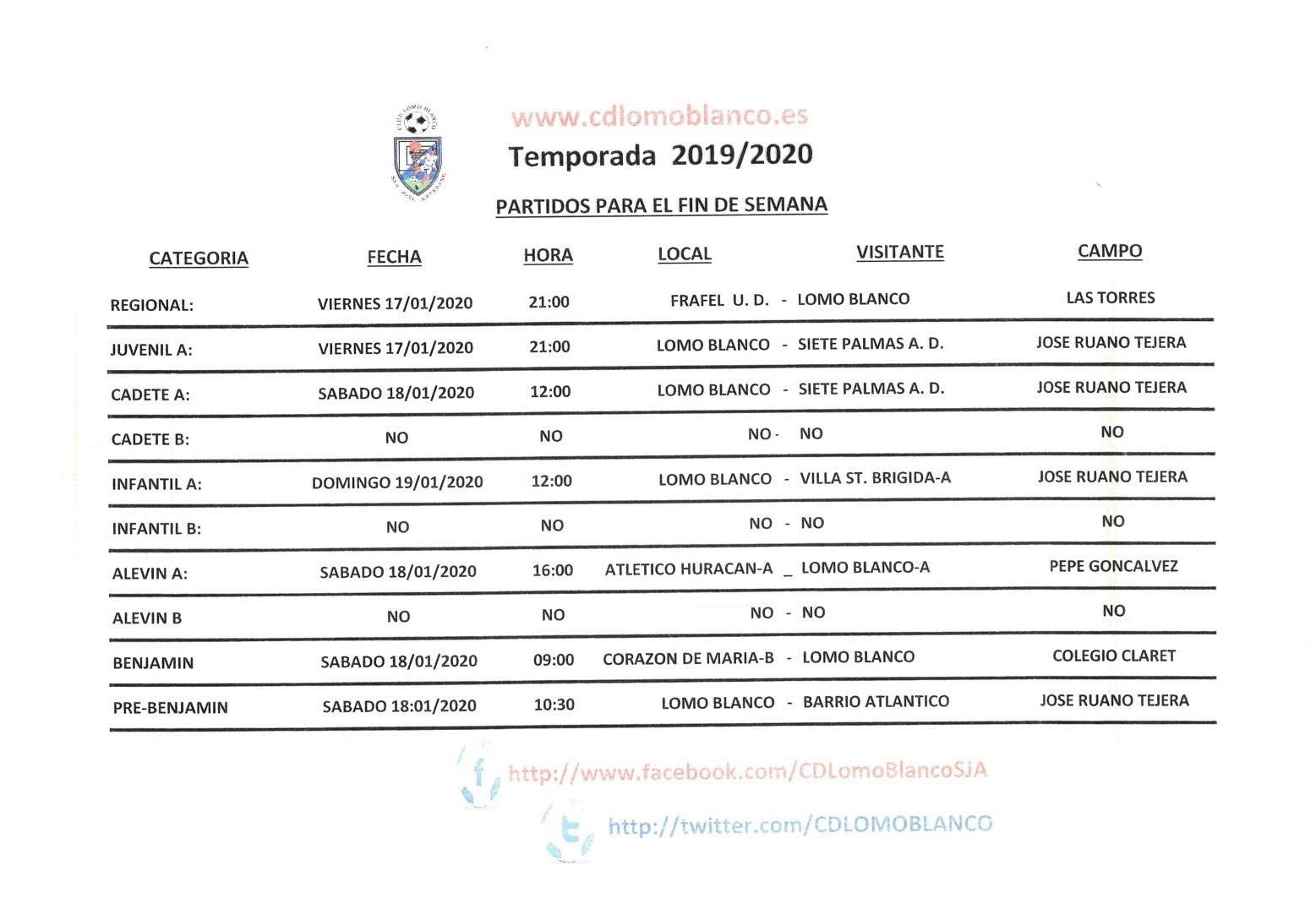 PARTIDOS DEL FIN DE SEMANA 17-19 DE DICIEMBRE