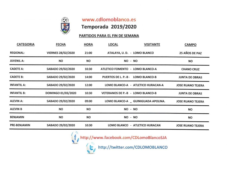 PARTIDOS DEL FIN DE SEMANA 29-01 DE FEBRERO-MARZO