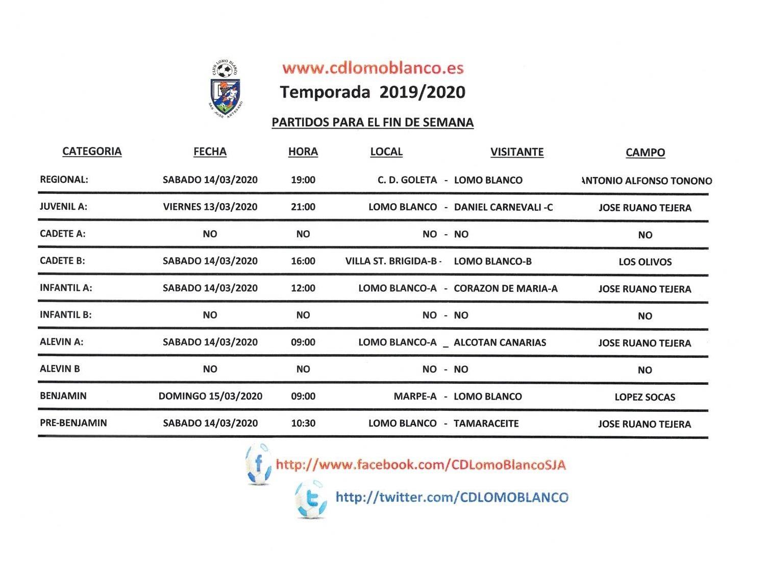 PARTIDOS DEL FIN DE SEMANA 13-15 DE MARZO