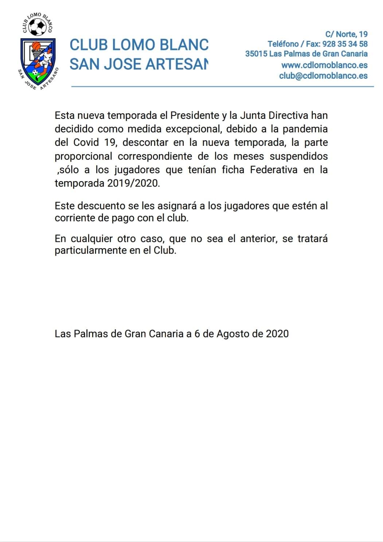 Comunicado oficial: pagos 2020/2021