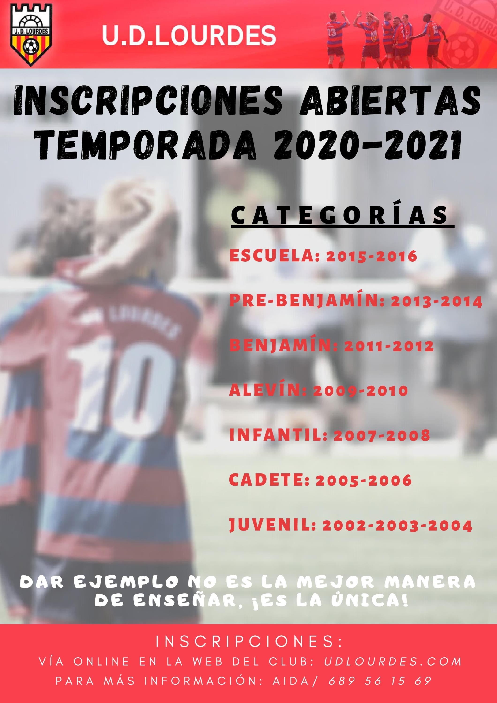 Inscripciones para temporada 2020/2021