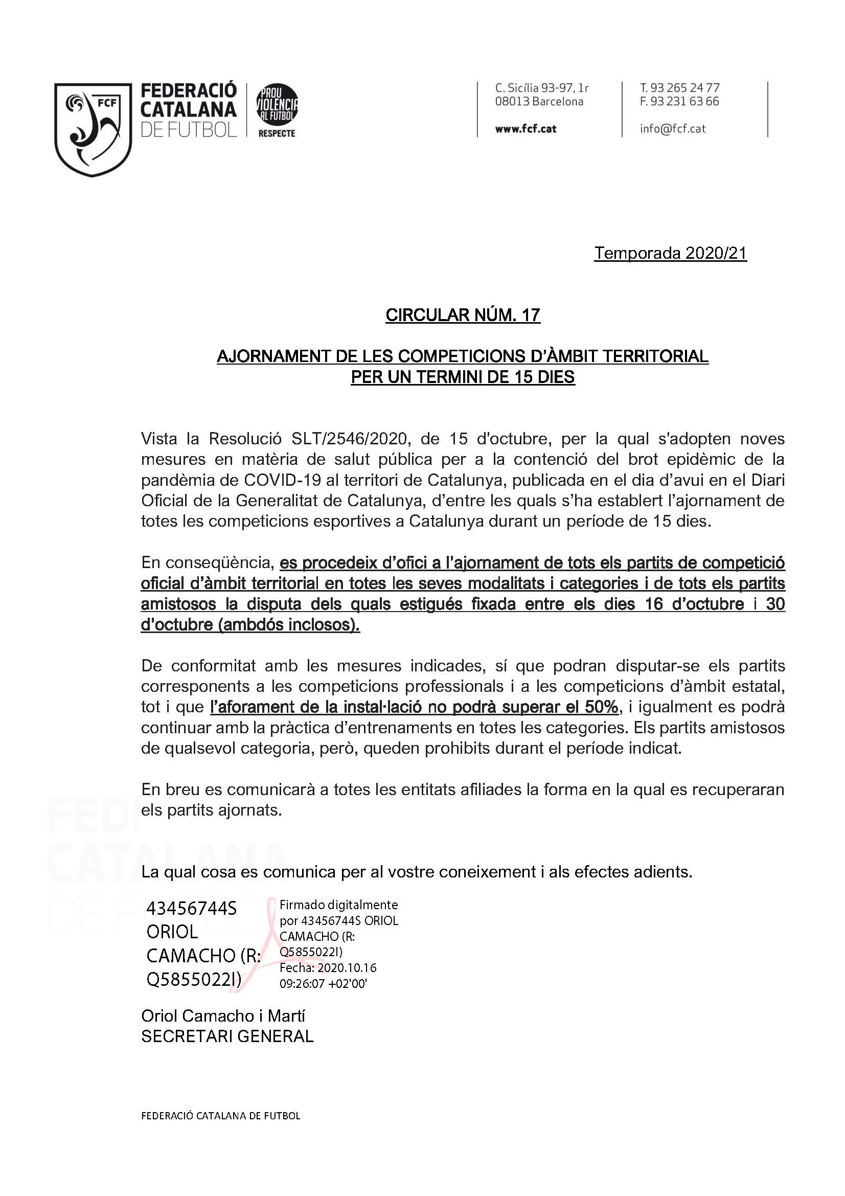 CIRCULAR Nº 17 AJORNAMENT DE LES COMPETICIONS D'ÀMBIT TERRITORIAL PER UN TERMINI DE 15 DIES