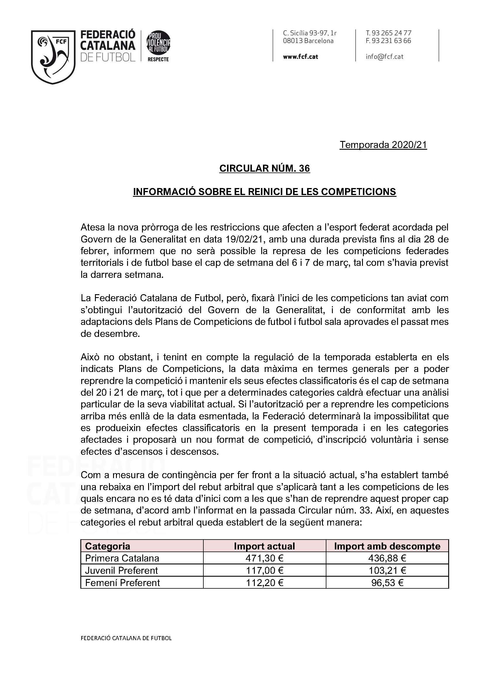 IMPÒSIBILIDAD 6 Y 7 DE MARZO CIRCULAR 36