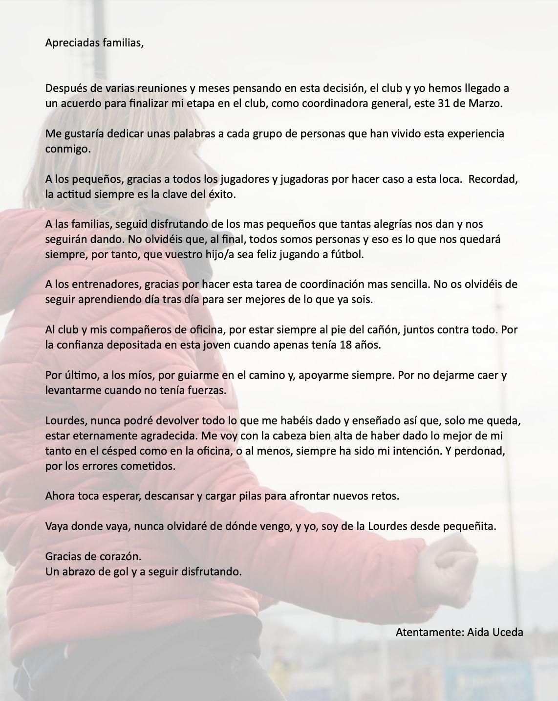 COMUNICADO CLUB SOBRE CAMBIOS EN COORDINACIÓN
