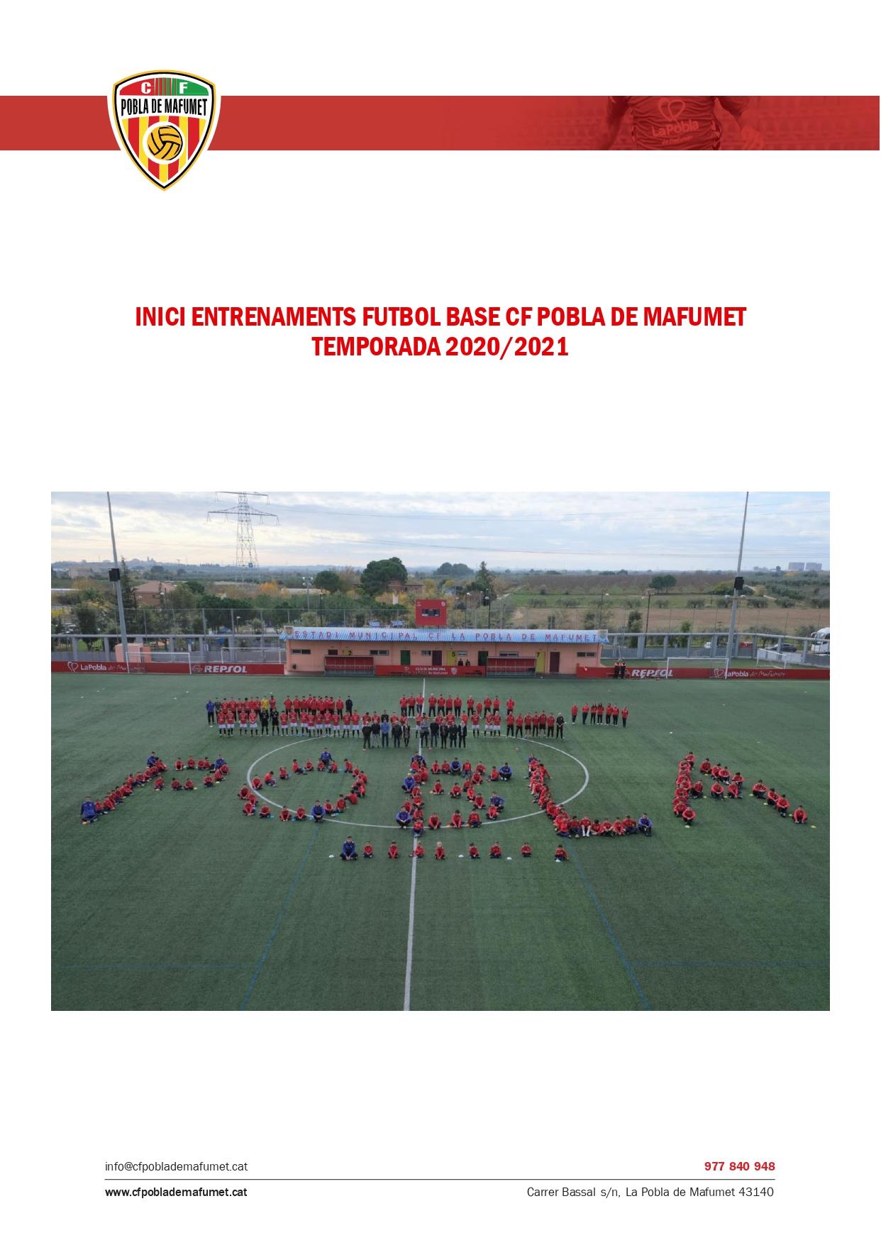 El CF Pobla de Mafumet presenta el protocol del futbol base per la temporada 2020/21