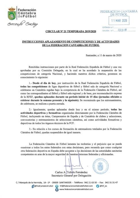 Aplazamiento de competiciones y de actividades de la Federación Cántabra de Fútbol