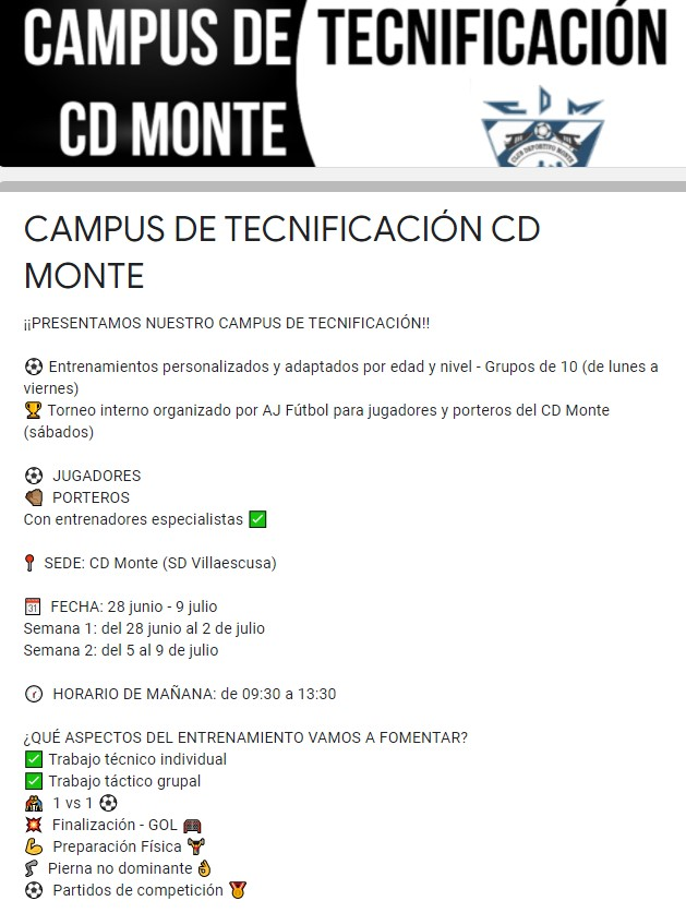 Reserva de inscripción Campus de Tecnificación CD Monte