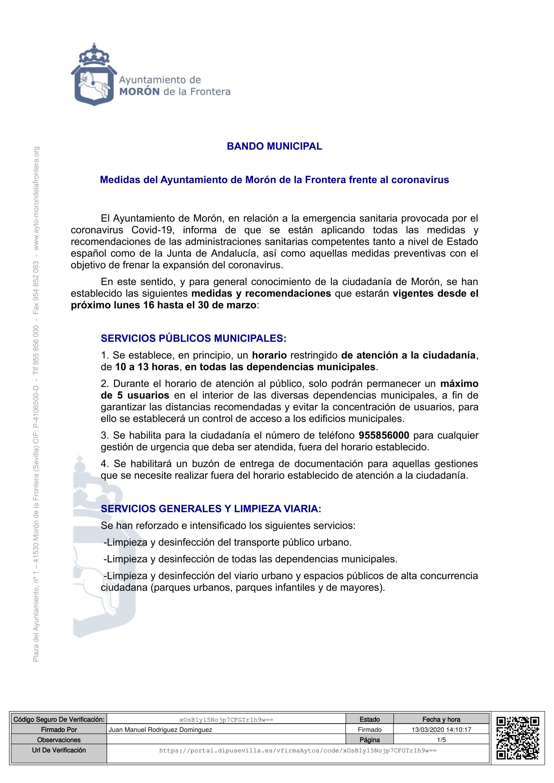 SUSPENDIDA TODA ACTIVIDAD DEPORTIVA DEL C.F. CIUDAD DE MORÓN