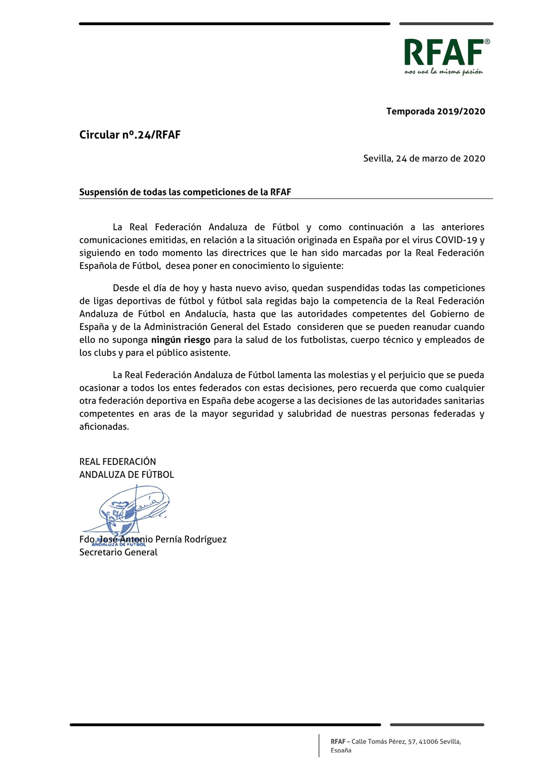 Circular nº.24/RFAF. Suspensión de todas las competiciones de la RFAF