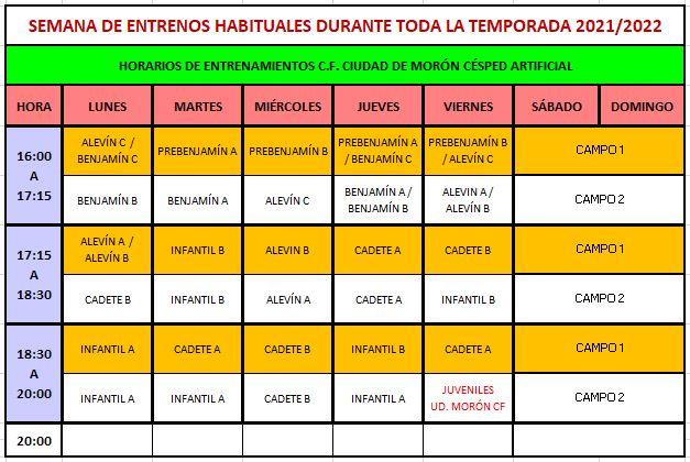 HORARIOS PARA LA TEMPORADA 2021-2022