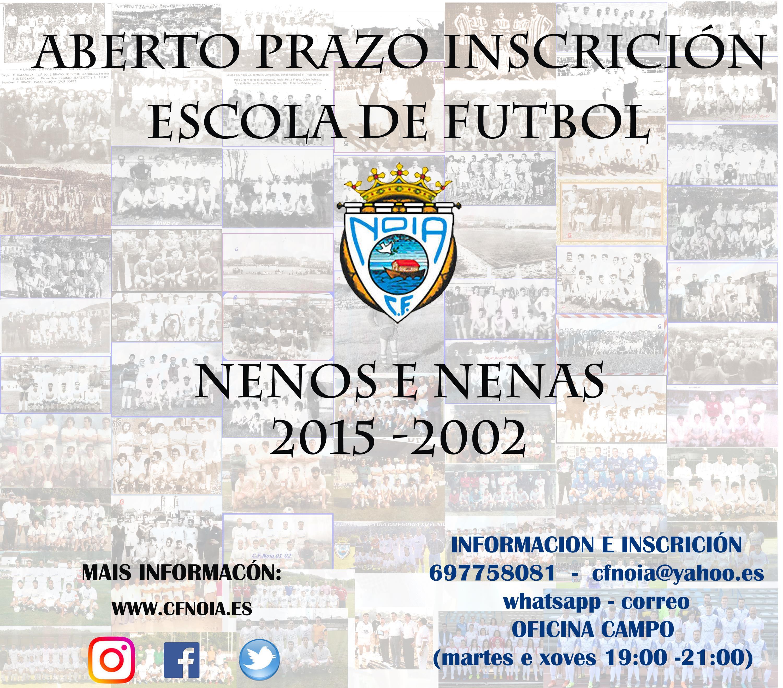 ABERTO PRAZO DE INSCRICIÓN  ESCOLA DE FUTBOL DO CFNOIA 2020/2021