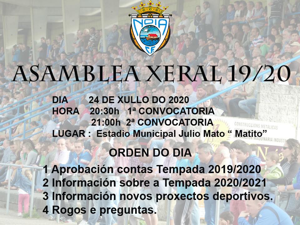 CONVOCATORIA ASAMBLEA XERAL TEMPADA 2019/20