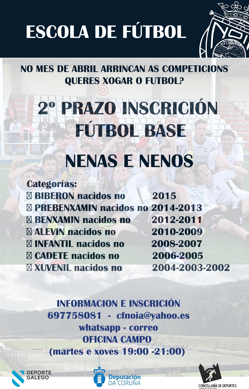 ABERTO PRAZO DE INSCRICIÓN NA ESCOLA DE FÚTBOL DO CLUB DE FÚTBOL NOIA 2020/21