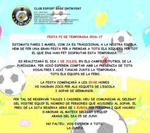 Festa fi de temporada 2016-17