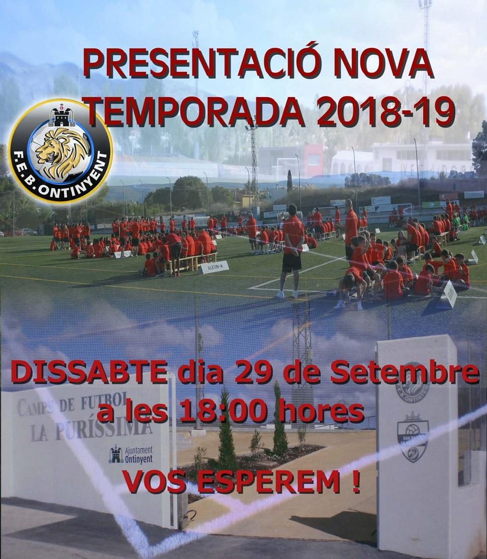 La PRESENTACIÓ de la temporada 2018/2019 serà este dissabte 29