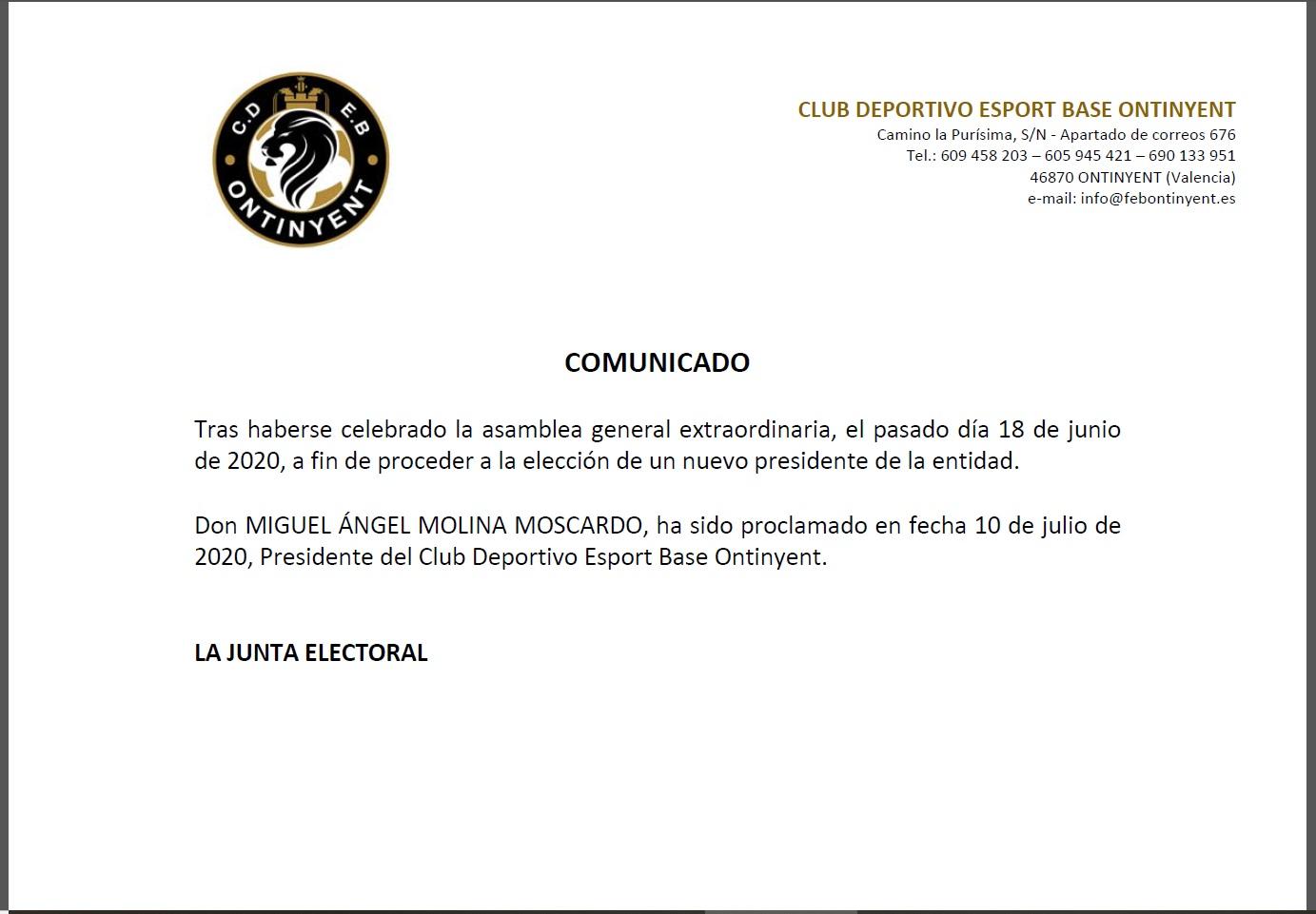 Miguel Angel Molina serà el nou President del Club