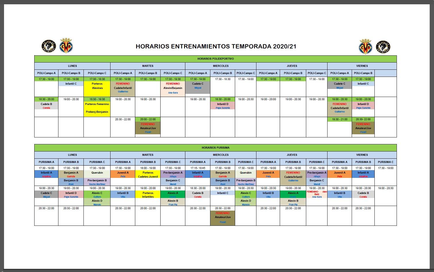 Planning entrenaments 2020/2021