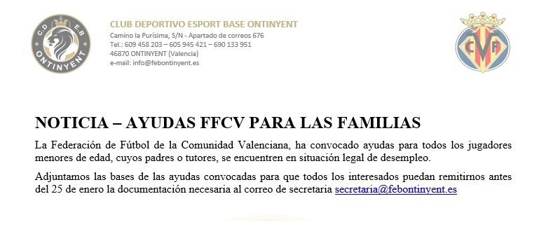 Ajudes de la FFCV pels menors d'edat