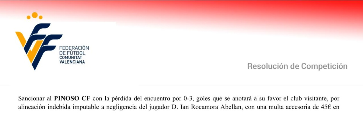 Resolució del Comité: Pinós 0 - Deportivo Ontinyent 3
