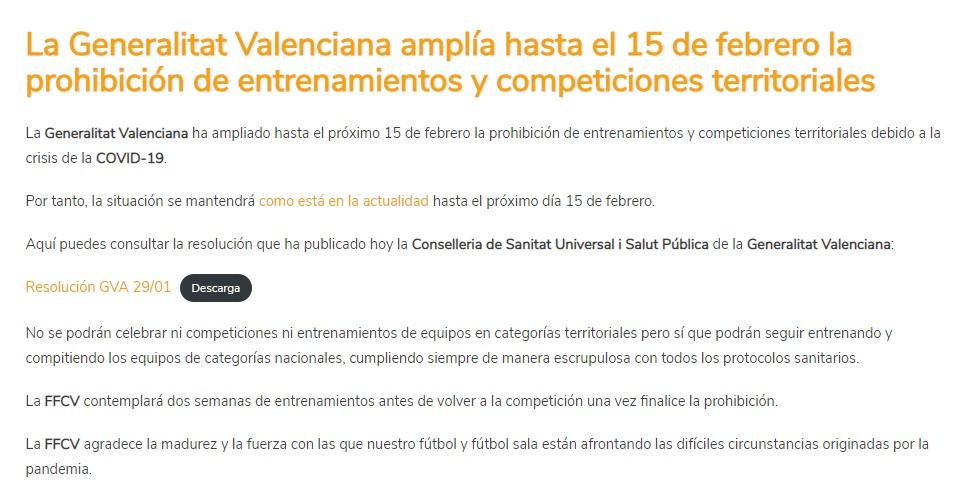 La Generalitat Valenciana prorroga la pohibició dels entrenaments