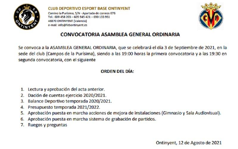 Assemblea General Ordinaria pel 3 de Setembre