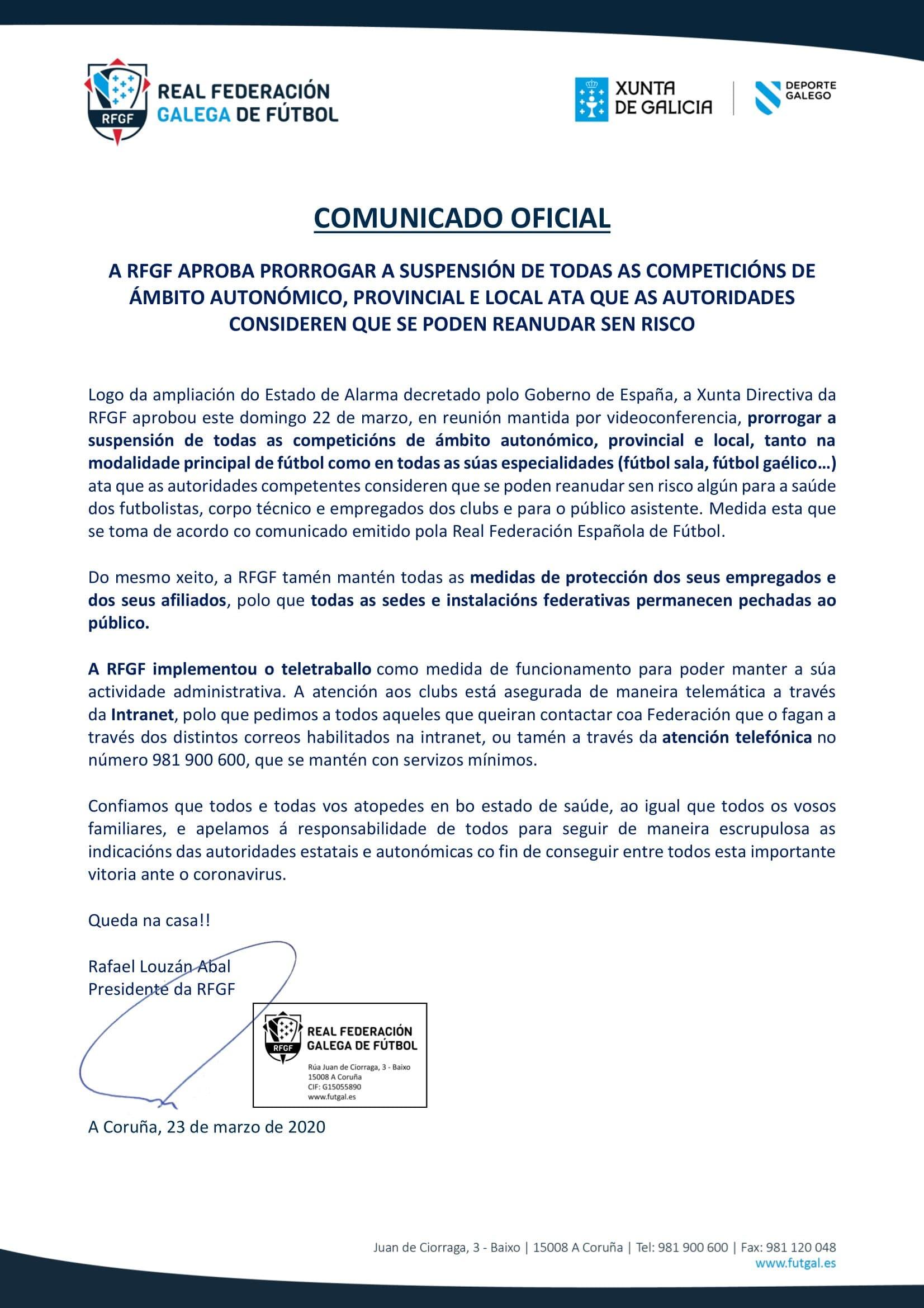 COMUNICADO OFICIAL DA RFGF
