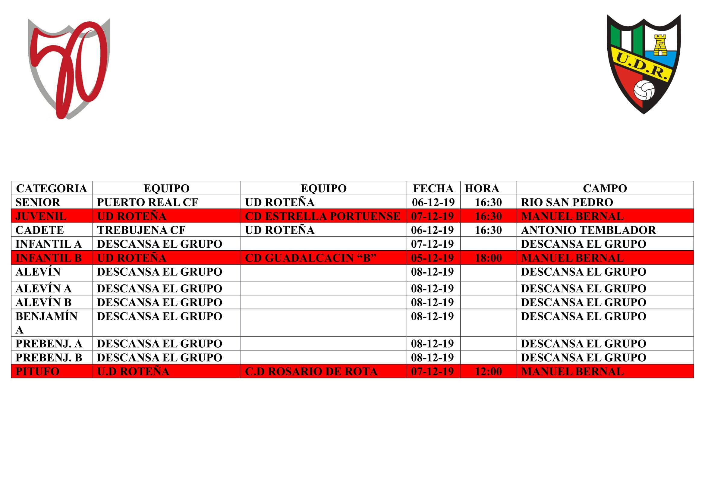 Agenda partidos 7 al 9 diciembre