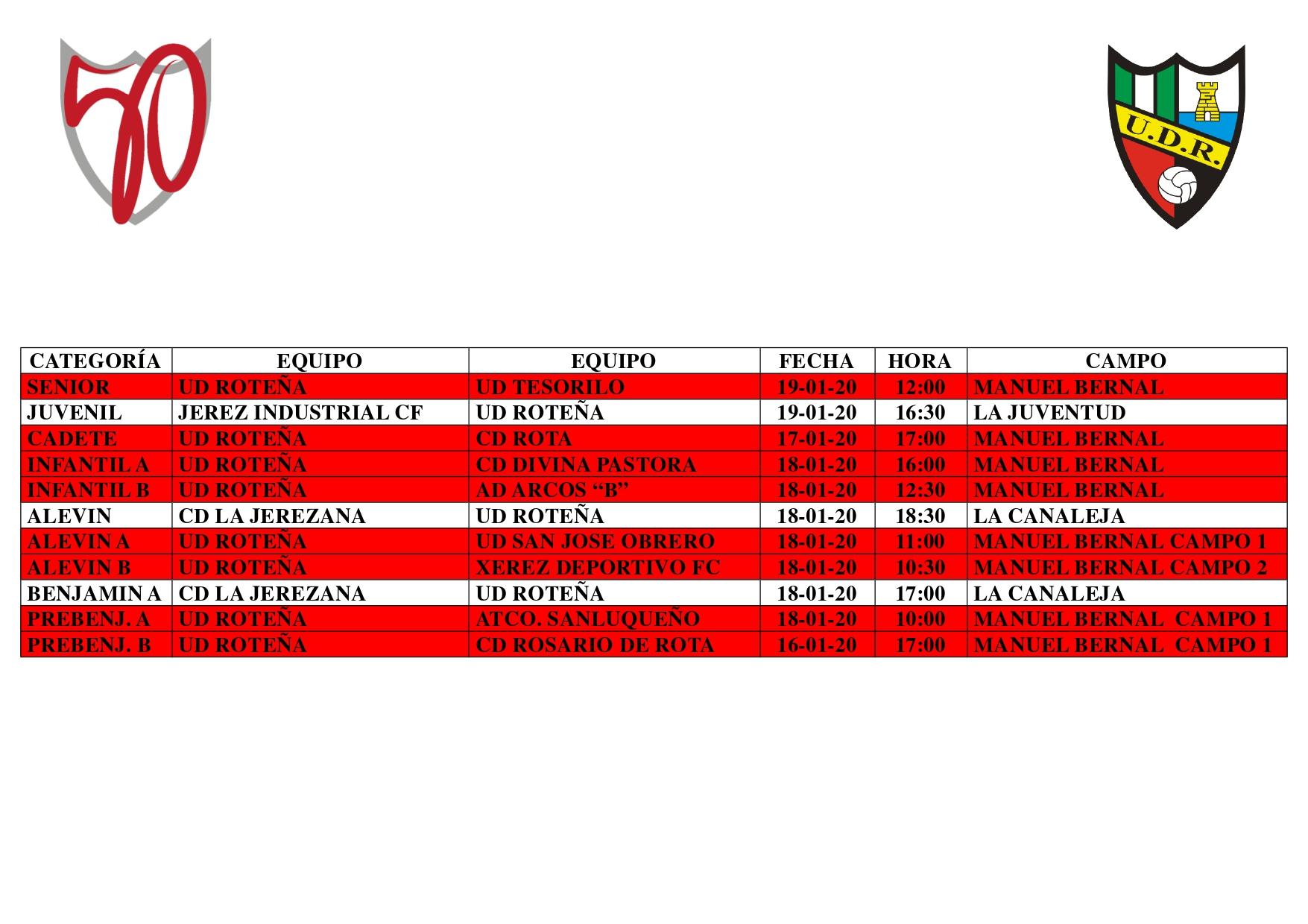 Agenda partidos fin de semana (del 16 al 19 de enero)