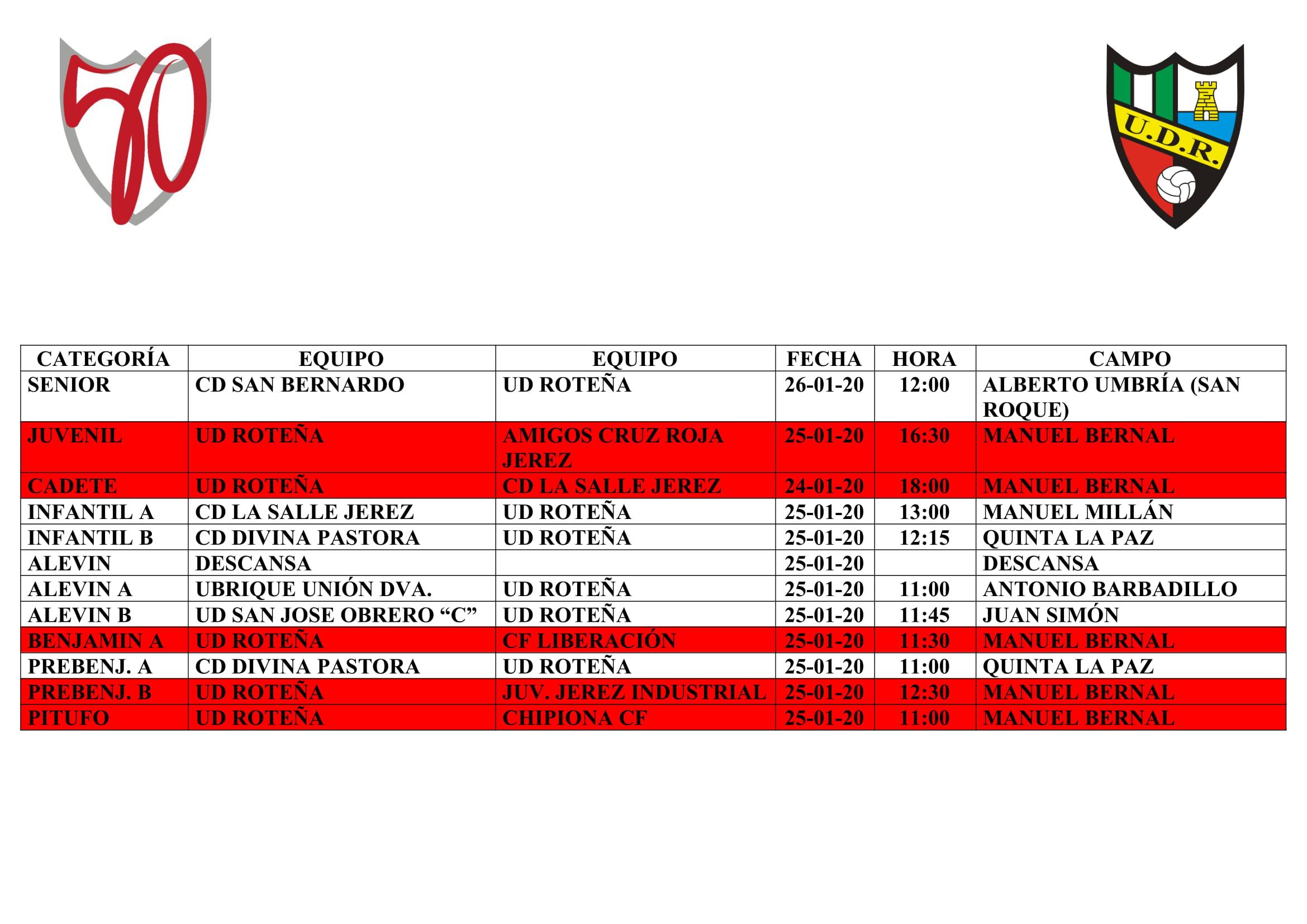Agenda partidos fin de semana (del 24 al 26 de enero)