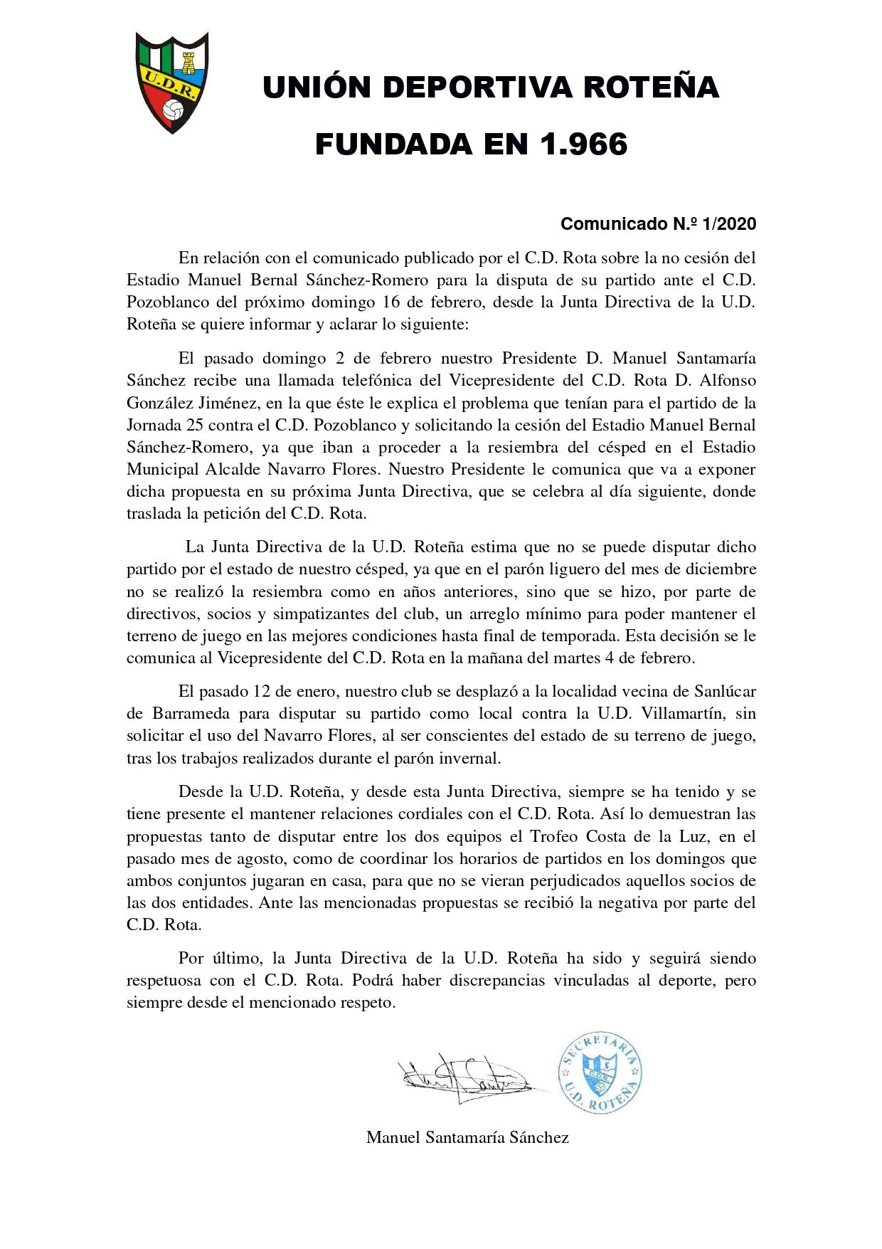 Comunicado sobre la no cesión al C.D. Rota del Estadio Manuel Bernal Sánchez-Romero