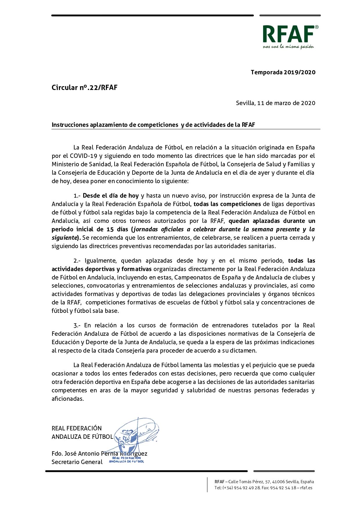 Circular RFAF aplazamiento competiciones y actividades deportivas