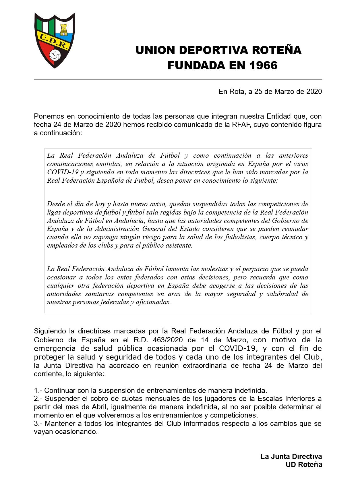 Comunicado situación actual medidas COVID-19