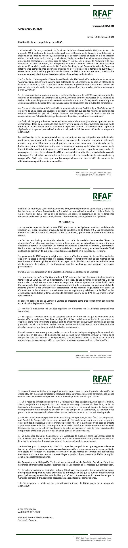 Circular RFAF finalización temporada 19/20