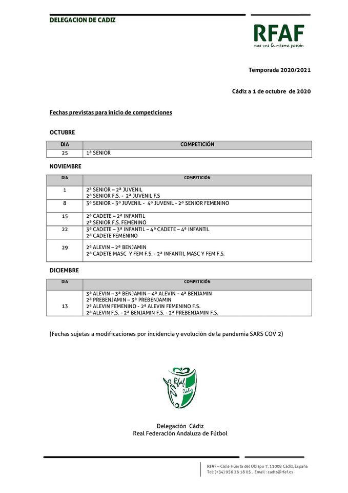 Fechas previstas inicio de la competiciones