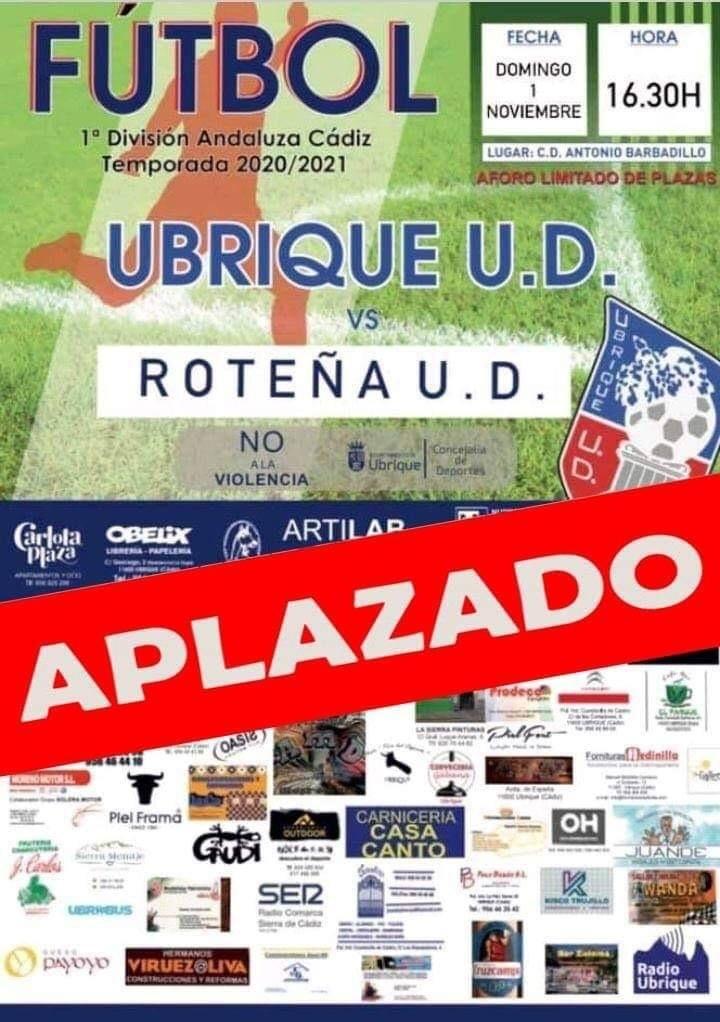 Aplazado el partido Ubrique UD - UD Roteña