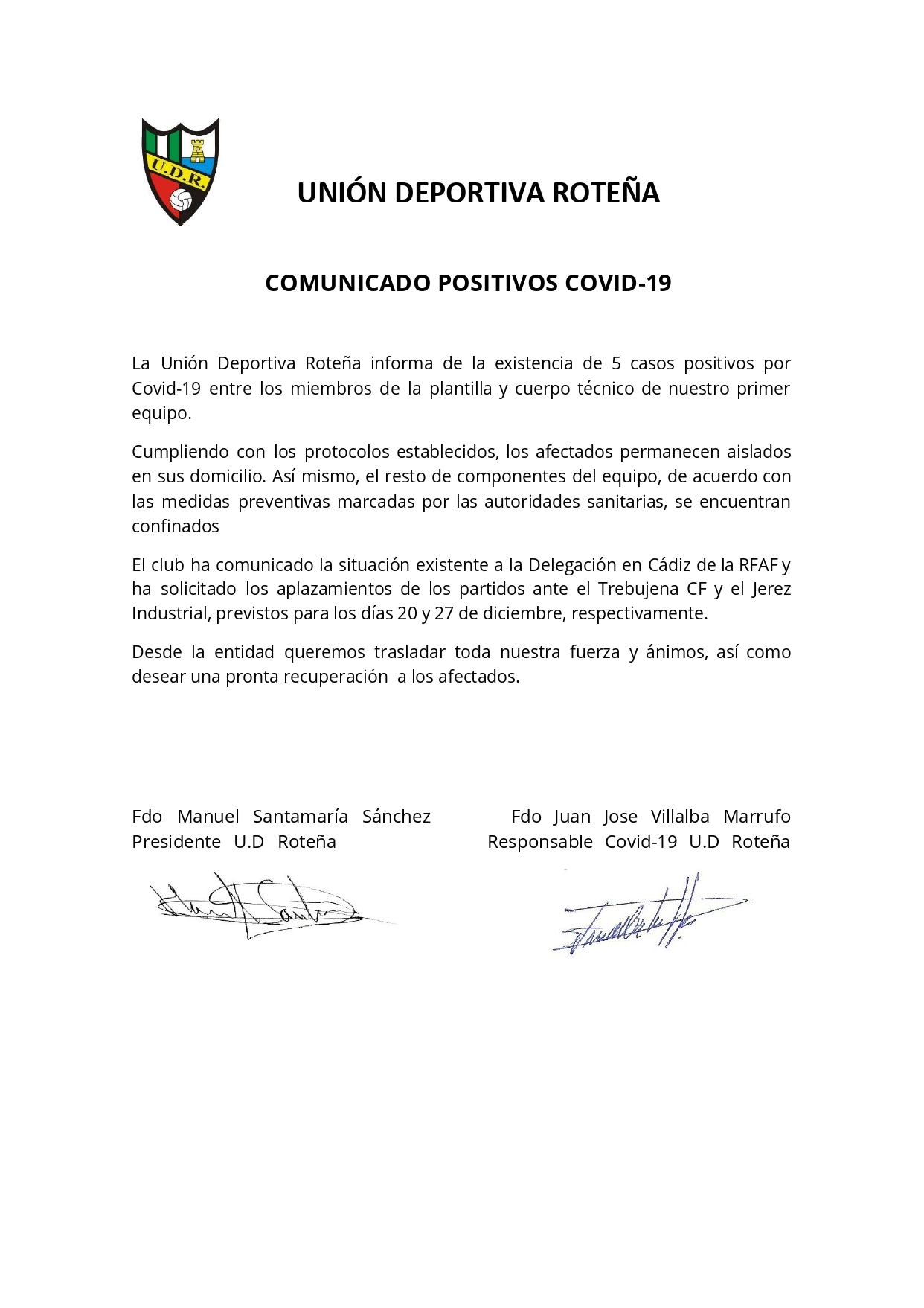 Comunicado positivos Covid-19