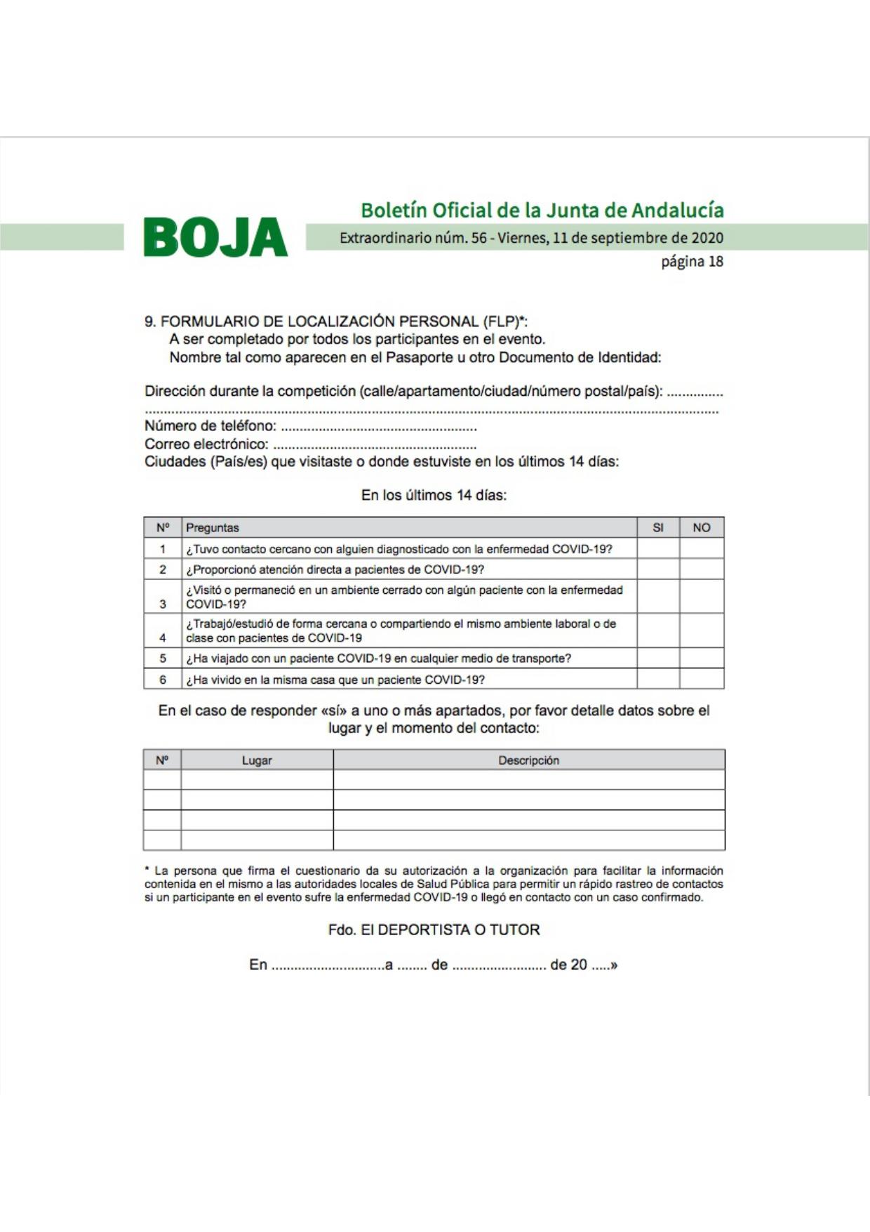 Formulario de Localización Personal (FLP)