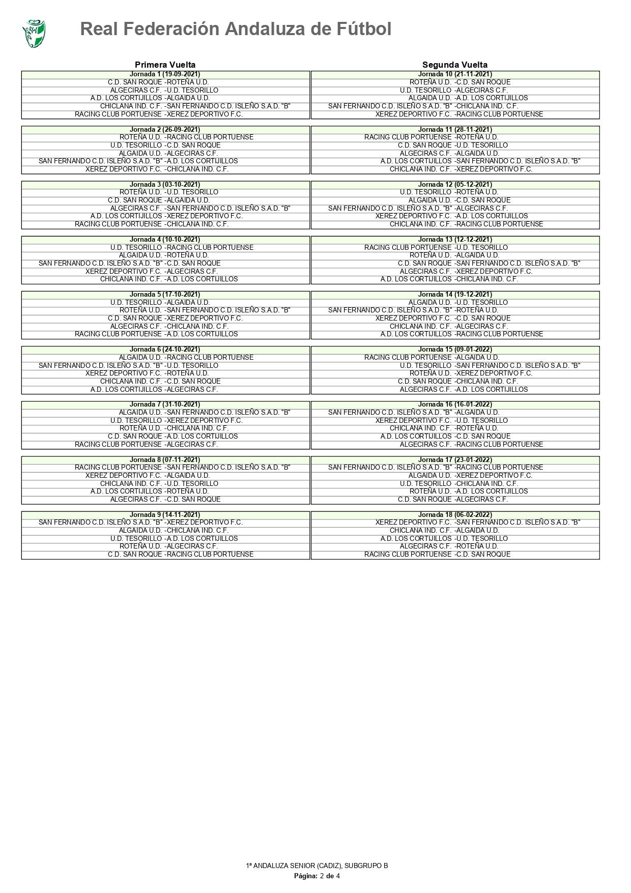 Primera Andaluza 21/22, calendario de competición (subgrupo B)